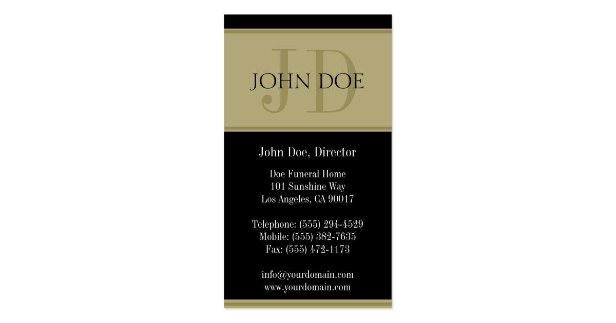 Funeral Home Black Golden Banner Business Card Zazzle