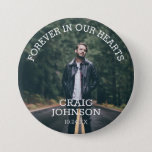"Funeral In Loving Memory | Photo Button<br><div class=""desc"">A button for friends and family to wear at a funeral with a photograph of your loved one and the words ""FOREVER IN OUR HEARTS"",  their name and date of funeral/death.</div>"