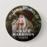 "Funeral In Loving Memory | Remembrance Photo Button<br><div class=""desc"">A button for friends and family to wear at a funeral with a photograph of your loved one and the words ""IN LOVING MEMORY OF"",  their name and date of funeral/death.</div>"