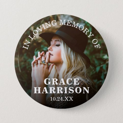 Funeral In Loving Memory  Remembrance Photo Button