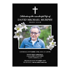 Funeral Lillies | Celebration of Life Photo Invitation