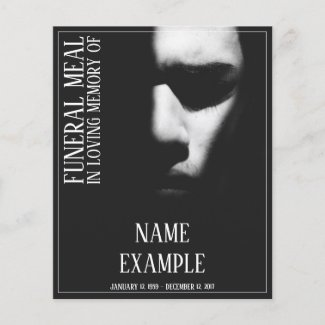 Funeral Meal Card - A sleeping face in half shadow