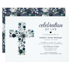 Funeral Memorial | Celebration of Life Blue Cross Invitation