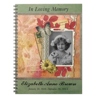 Funeral Memorial Personalized Photo Guestbook Notebook