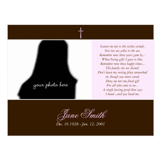 Funeral Memorial Prayer Card Photo Template 2a Zazzle Com