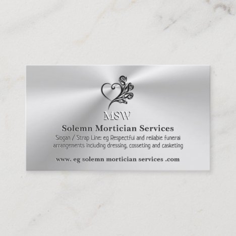 Funeral Mortician Services, Heart and Roses Business Card