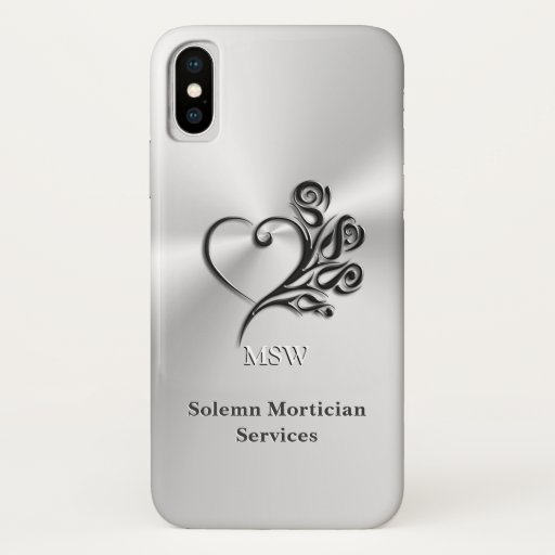 Funeral Mortician Services, Heart and Roses iPhone X Case