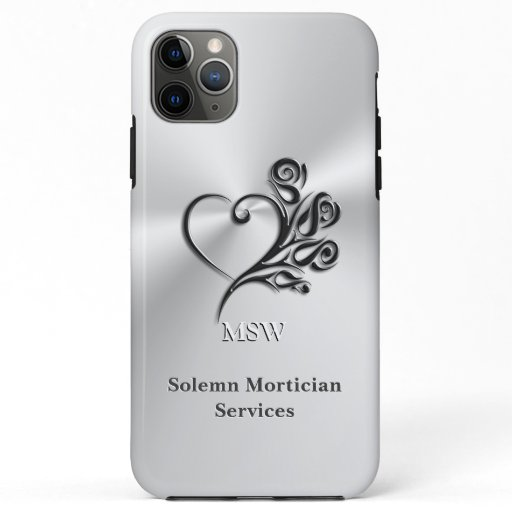 Funeral Mortician Services, Heart and Roses iPhone 11 Pro Max Case