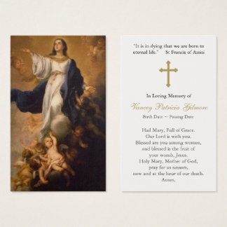 Funeral Prayer Card Assumption Mary with Cross