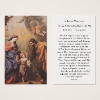 Funeral Prayer Card Feast of the Holy Family