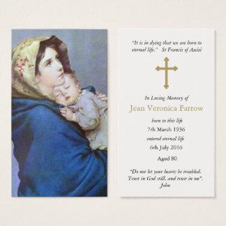 Funeral Prayer Card Madonnina