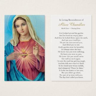 Funeral Prayer Card Sacred Heart Mary