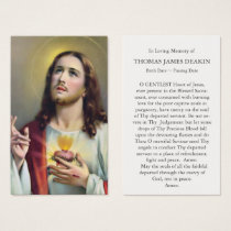 Funeral Prayer Card Sacred Heart of Jesus