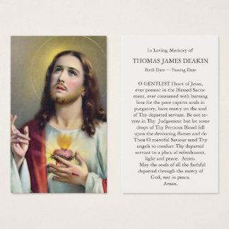 Funeral Prayer Card Sacred Heart of Jesus
