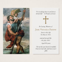 Funeral Prayer Card St Christopher