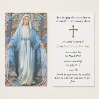 Funeral Prayer Cards Hail Mary