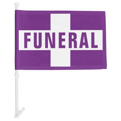 Funeral Procession  Hearse Purple Cross Car Flag