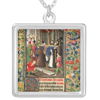 Funeral procession with grave-diggers silver plated necklace