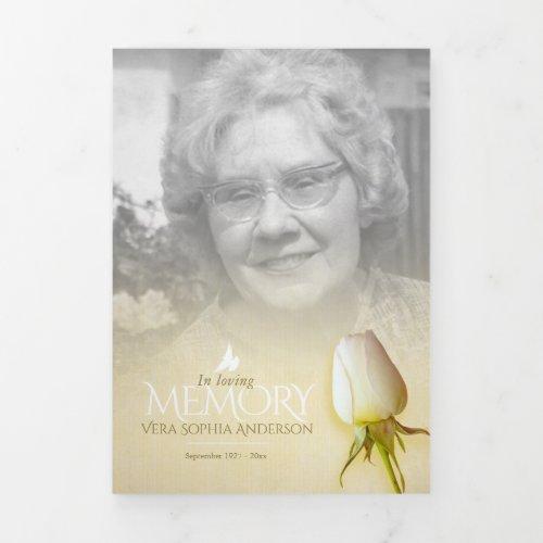 Funeral program order of service cream rose