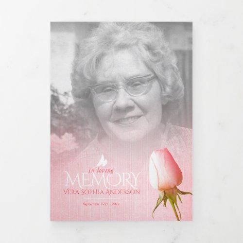 Funeral program order of service pink rose