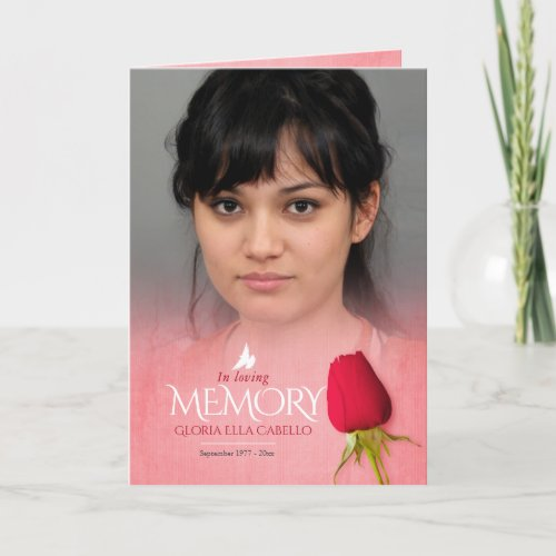Funeral program order of service red rose
