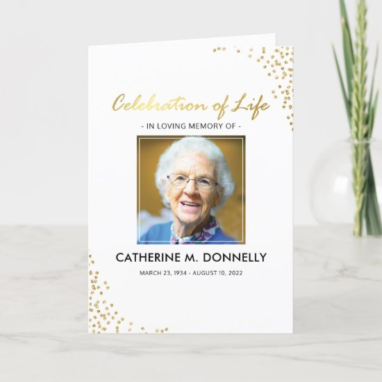 Funeral Program | White Gold Order of Service