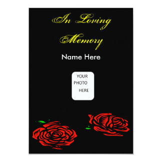 Funeral Red Rose Invitation Card