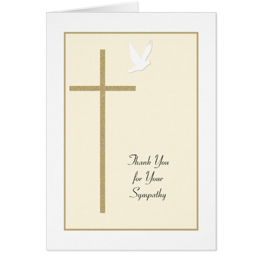 Funeral Sympathy Thank You Card -- Cross & Dove | Zazzle