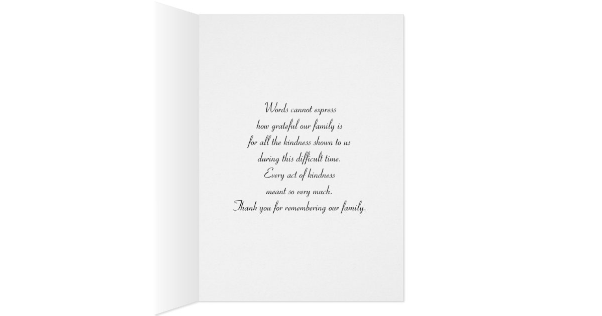Funeral Sympathy Thank You Card Cross Dove – Funeral Words for Cards