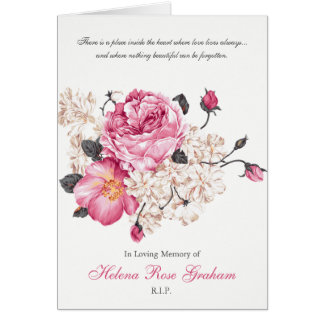 Funeral Thank You Card Vintage Roses