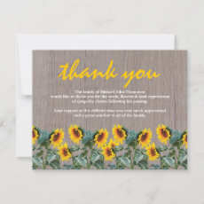 Funeral Thank You | Memorial Rustic Sunflower