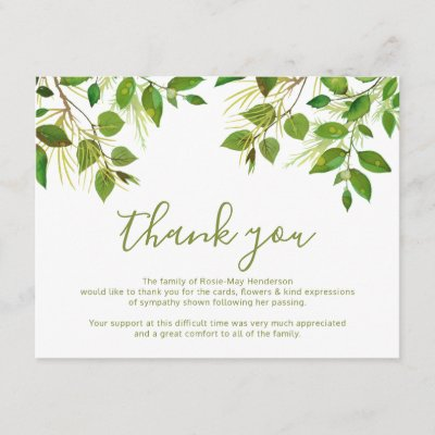 thank you funeral thank you note card behreavement zazzlecom
