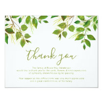 Funeral Thank You Note | Behreavement Invitation