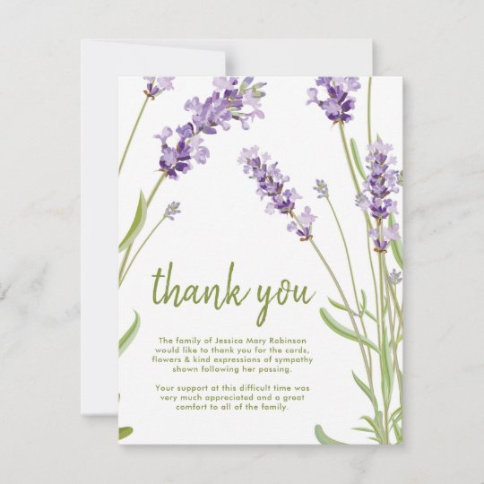 Funeral Thank You Note   Behreavement Lavender