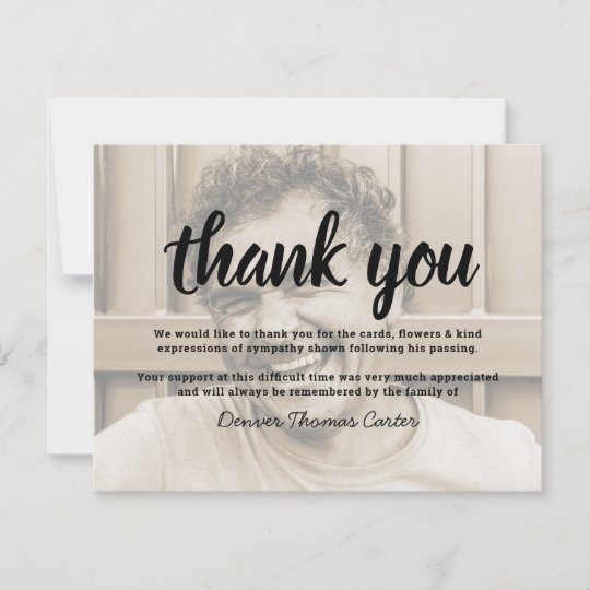 Funeral Thank You Note | Behreavement Photo