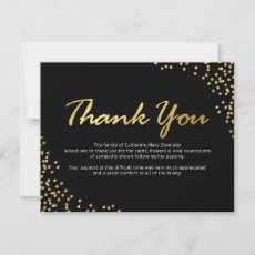Funeral Thank You Note | Black Gold Glamour