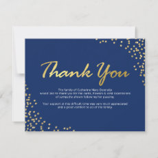 Funeral Thank You Note | Blue Gold Glitter