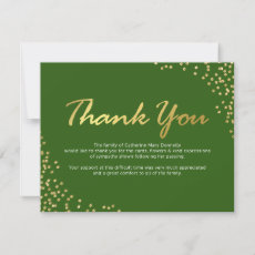 Funeral Thank You Note | Green Gold Glamour