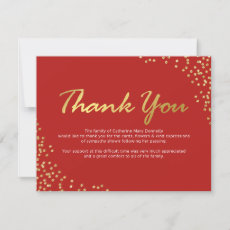 Funeral Thank You Note | Red Gold Sparkly