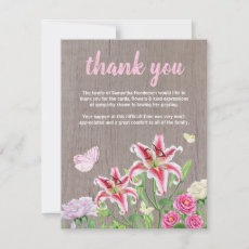 Funeral Thank You Note | Rustic Flowers Butterfly