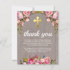 Funeral Thank You Note | Rustic Pink Floral