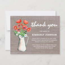 Funeral Thank You Note | Rustic Poppies
