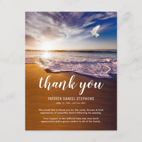 Funeral Thank You Note  Sympathy Ocean Dove