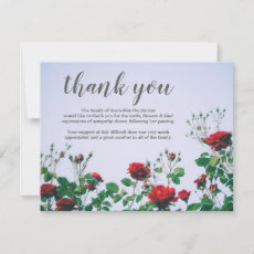 Funeral Thank You Note | Sympathy Red Roses