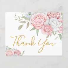 Funeral Thank You | Pink White Roses Invitation Postcard