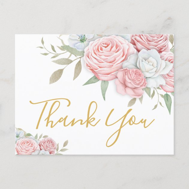 Postcard Rustic Rose Stamp Personalised Wedding Thank You Cards