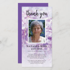 Funeral Thank You | Purple Floral Photo Card