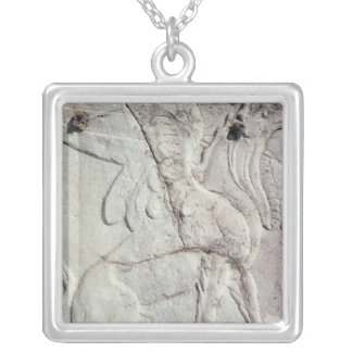 Funeral urn with carved relief of a Griffin Silver Plated Necklace