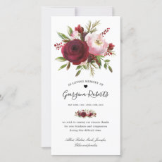 Funeral Watercolor Floral Memorial Thank You Note Card
