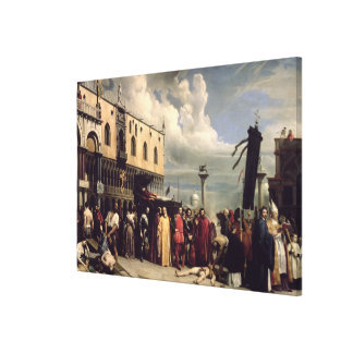 Funerary honours given to Titian who died in Venic Canvas Print